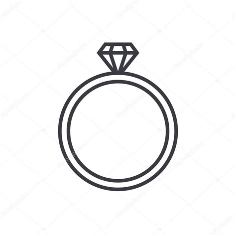 Wedding Ring Flat Design by Wedding Ring Outline Icon Modern Minimal Flat