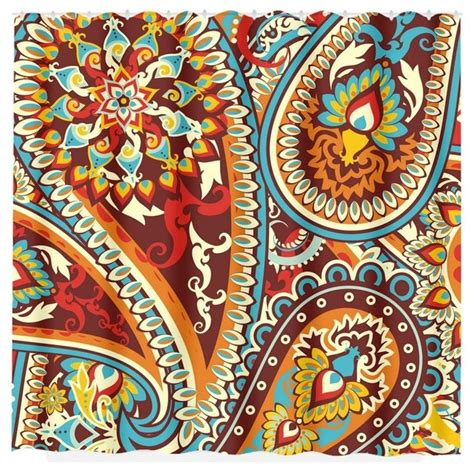 turquoise paisley curtains paisley shower curtain turquoise red home bathroom decor