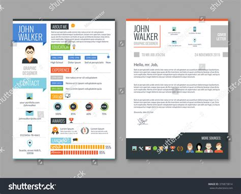 Two Page Resume Front And Back by Two Pages Candidate Cv Template Stock Vector 370873814