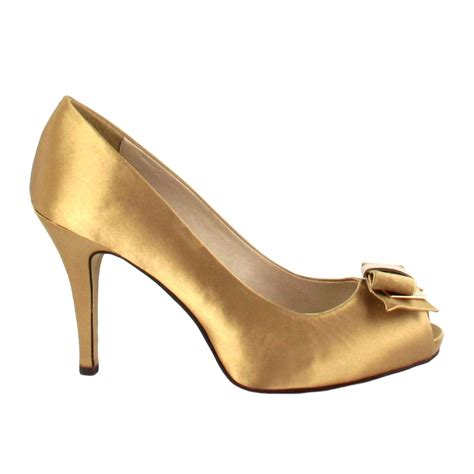 satin high heels buy menbur gold satin peep toe high heel