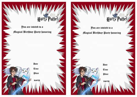 harry potter card template 2 innovative harry potter birthday invitations printable