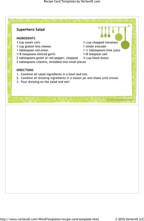 download recipe card template for free formtemplate