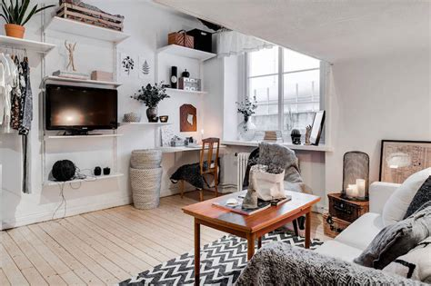 Kitchen And Lounge Design Combined Small Apartment Meets Relaxed Scandinavian Design