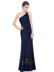 navy blue dress navy blue one shoulder bridesmaid dress gorgeous navy blue one shoulder diamantes evening