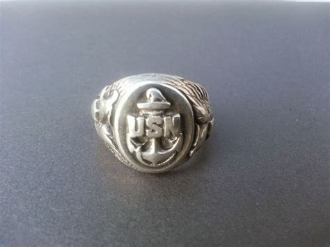 large sterling silver wwii united states navy personnel ring