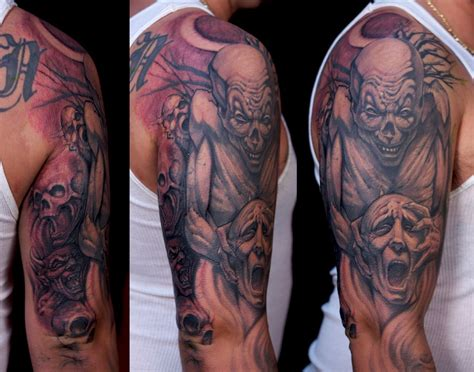 clown sleeve tattoo designs pictures of scary tattoos and tattoos