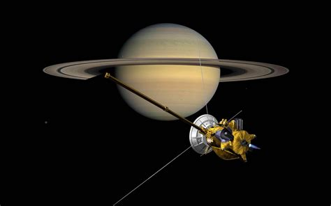 wallpaper craft com probe cassini front of the planet saturn with rings