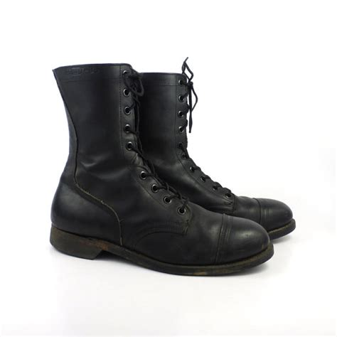 combat boots vintage 1980s steel toe black leather lace up