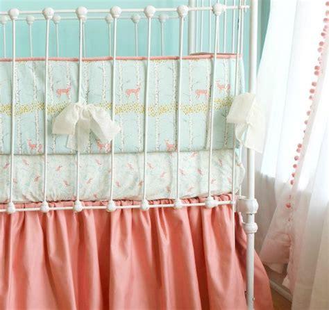 peach and aqua bedroom baby girl crib bedding coral peach aqua fawn forest