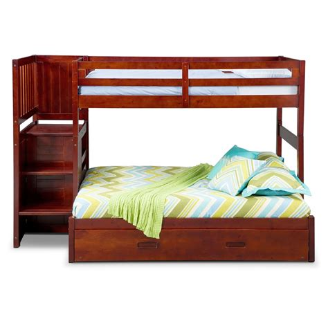 bunk bed with trundle and stairs ranger twin over full bunk bed with storage stairs and
