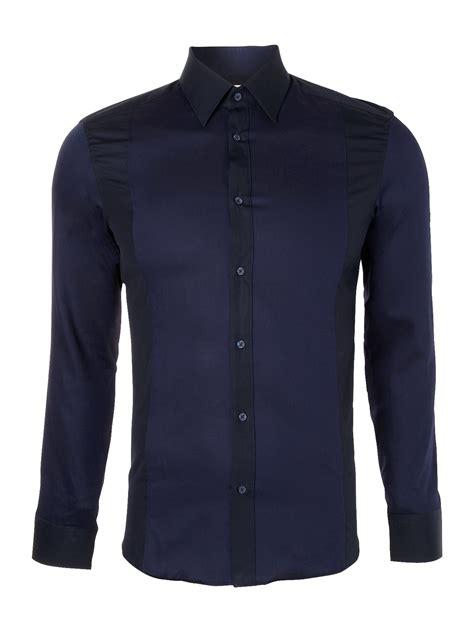 Panel Shirt kenzo sleeve panel dress shirt in blue for lyst