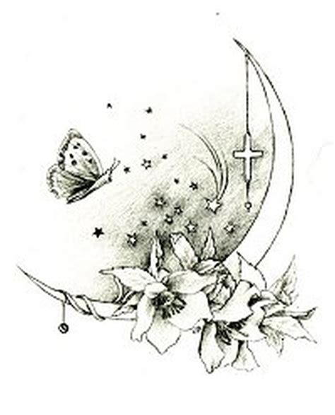 moon flower tattoo design butterfly moon design tattoos book 65 000