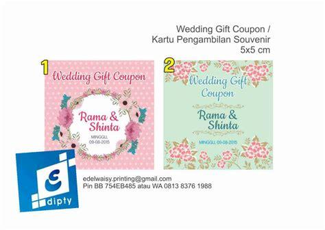 Kupon Untuk Souvenir Pernikahan jual kupon souvenir pernikahan kartu penukaran souvenir