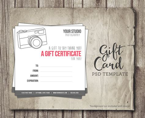 gift certificate photoshop template gift card template digital gift certificate photoshop