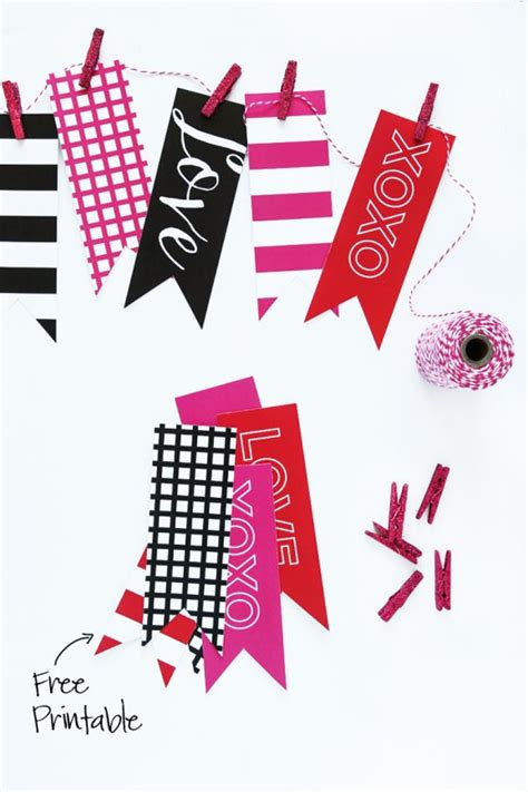 printable valentine banner 10 free valentines day printables heart handmade uk