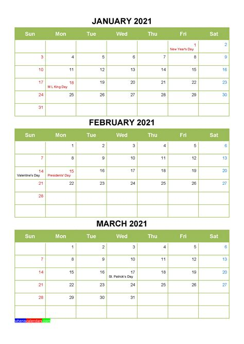 printable january february march  calendar