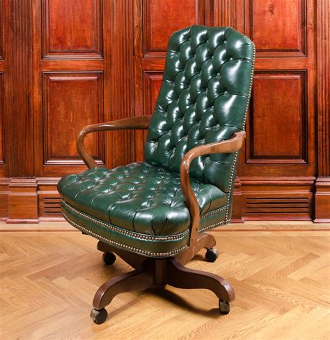 vintage green leather office chair vintage tufted green leather office chair ebth