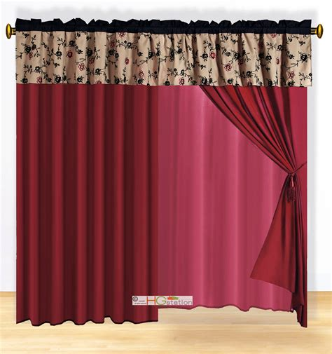 burgundy and black curtains 4 pc classy floral embroidery curtain set burgundy black
