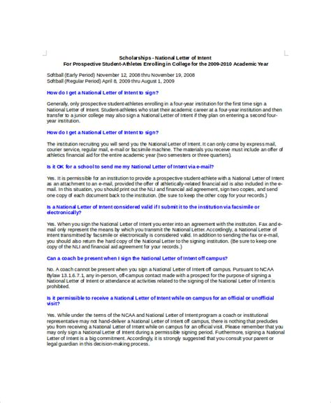 Letter Of Intent Sle Scholarship 15 Letter Of Intent Template Free Sle Exle