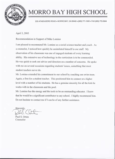 College Letter Of Recommendation Sle From Guidance Counselor Mr Lomino Letters Of Recommendation Morro Bay High School World History And Swim Team