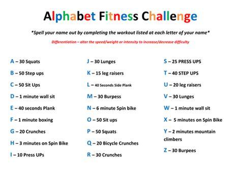 alphabet gymnastics challenge alphabet fitness challenge by mlw pe teaching resources