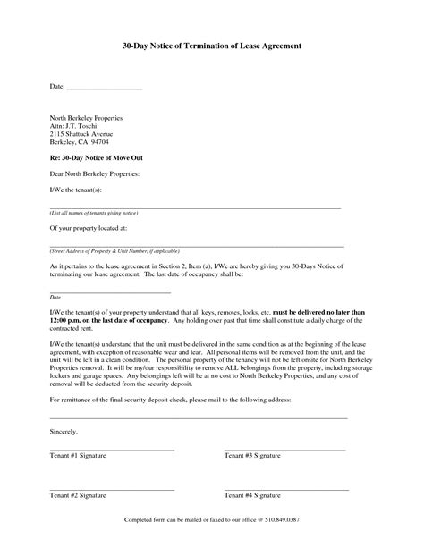 Residential Lease Notice Of Termination 30 day notice to vacate letter to tenant template best