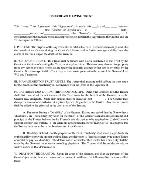 8 Sle Living Trust Forms Sle Templates Revocable Trust Template Free