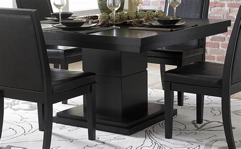 1 267 00 cicero black pedestal 5 pc dining set table and
