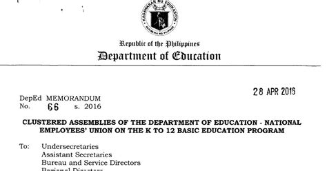 Payroll Section Department Of Education by Clustered Assemblies Of The Department Of Education