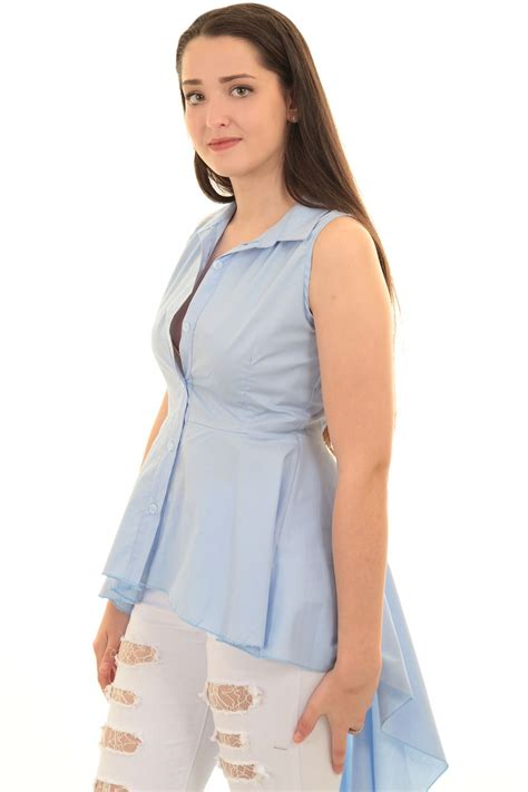Tshirt Pria Low sleeveless plain high low fishtail flare button up
