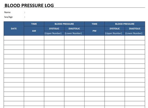 blood pressure log template free excel templates and