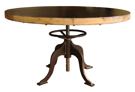 49 Quot Round Dining Table Metal Wood Top Iron Base Adjustable Metal And Wood Dining Table