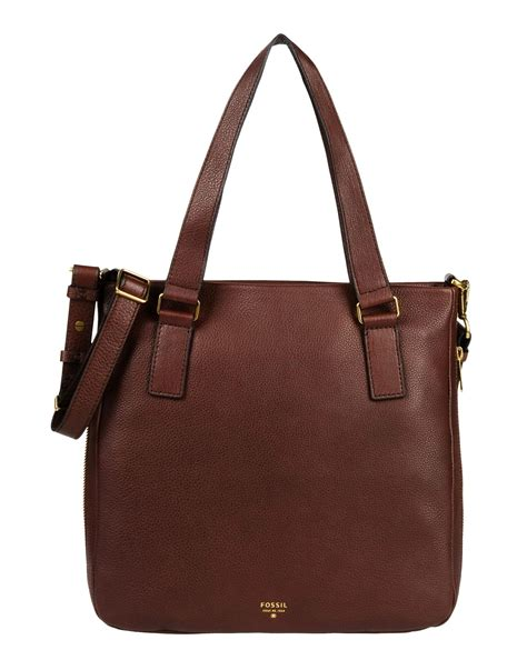Tas Fossil Tote Medium Brown lyst fossil handbag in brown