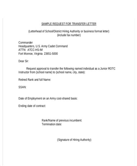 request letter company company transfer letter template 6 free word pdf