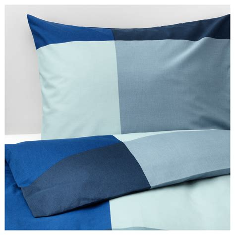ikea blue grey brunkrissla quilt cover and 2 pillowcases blue grey
