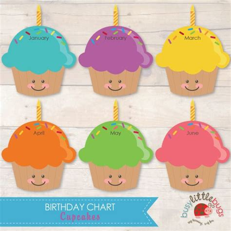 cupcake birthday chart template images