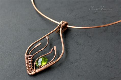 jewelry from copper wire copper wire wrapped necklace with light green faceted