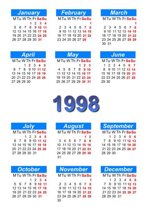 calendar 1998 to print and in pdf abc calendar