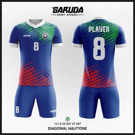 desain jersey warna biru desain kostum futsal printing diagonal halftone garuda