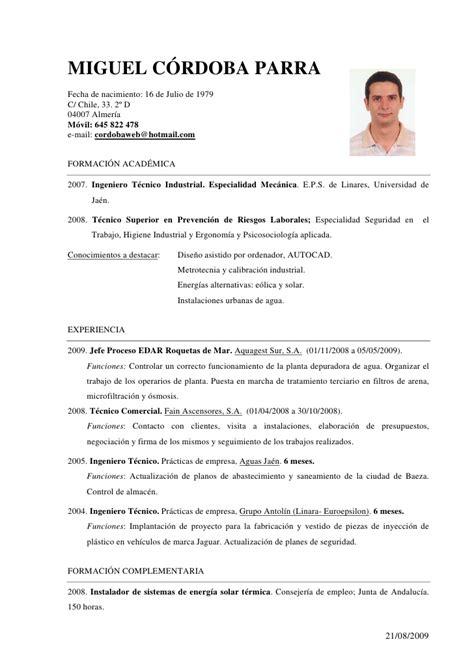 Modelo De Curriculum Vitae De Jefe De Almacen Curriculum Miguel