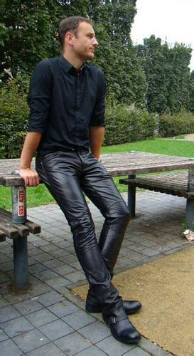 guys in tight jeans slim simple leather pant leder skora leather