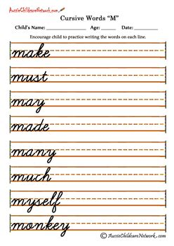printable joined up handwriting worksheets cursive words aussie childcare network