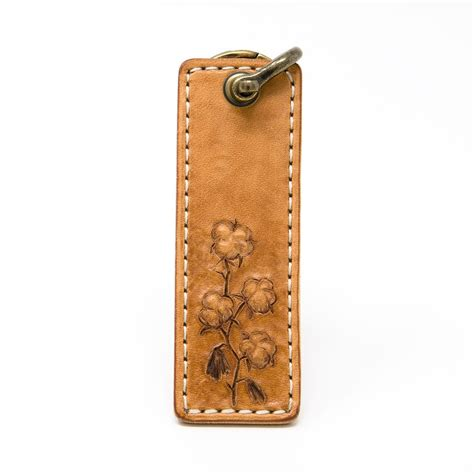 Handcrafted Leather Products - cotton stalk leather keychain handcrafted andrew design