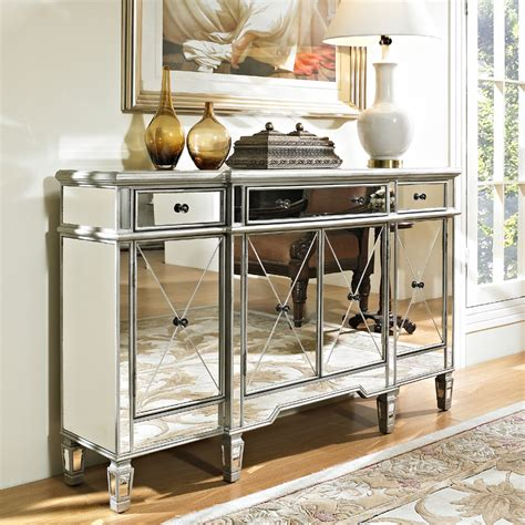 white mirrored buffet cabinet powell mirrored 3 4 door console 233 695
