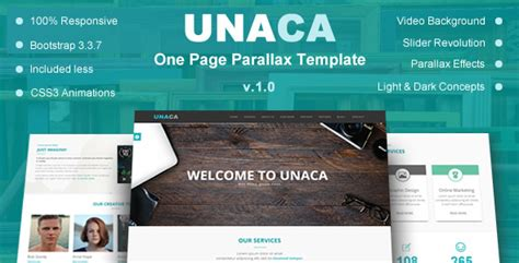 Unaca One Page Parallax Template Nulled Download Parallax Page Template