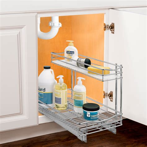 under sink shelf organizer pull out under sink organizer chrome in pull out baskets
