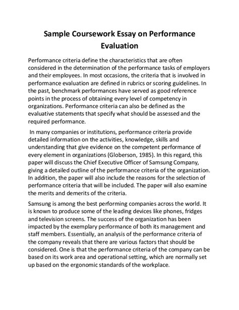 Exle Of Evaluation Essay by Sle Coursework Essay On Performance Evaluation