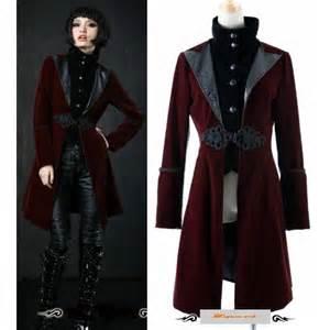 Mens womens red edwardian goth fashion long jacket windbreaker