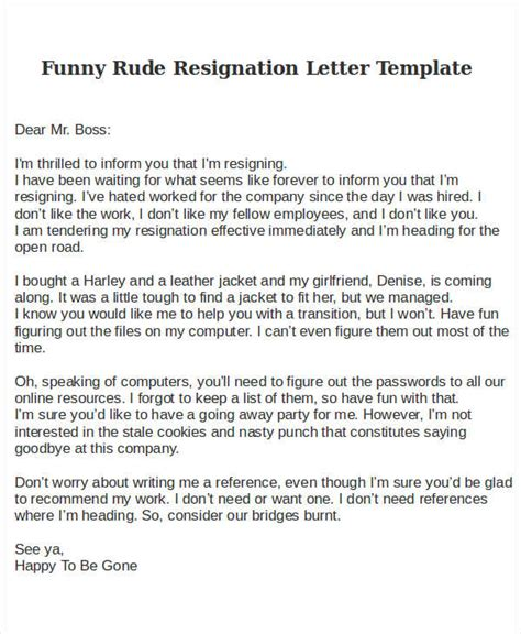 Resignation Letter Bad Terms rude resignation letter template 8 free word pdf