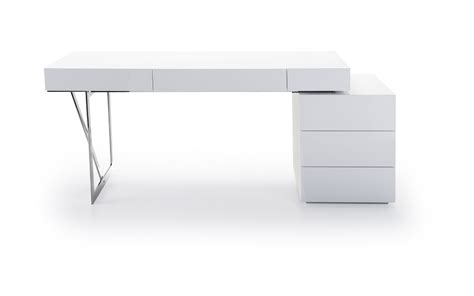 White Contemporary Office Desk With Storage Oakland Modern White Desks